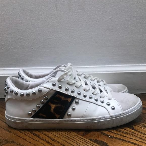 27631cd7687d Zara White Studded Sneakers w/ leopard detail. M_5b676534bf7729d44400ae80
